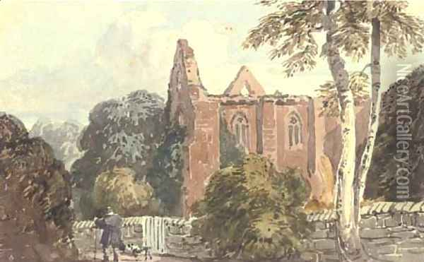 A figure with a dog beside a ruined abbey Oil Painting - David Cox
