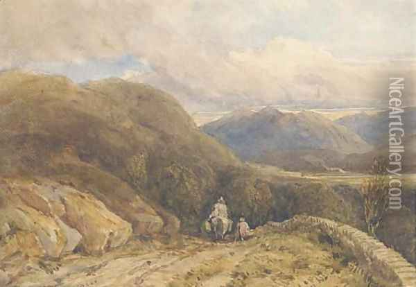 A Welsh mountain valley Oil Painting - David Cox