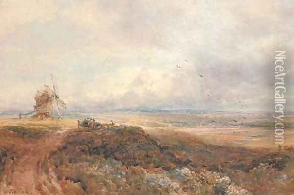 An old windmill and travellers on a moor Oil Painting - David Cox