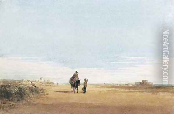 Figures on a beach near Rye, Sussex Oil Painting - David Cox