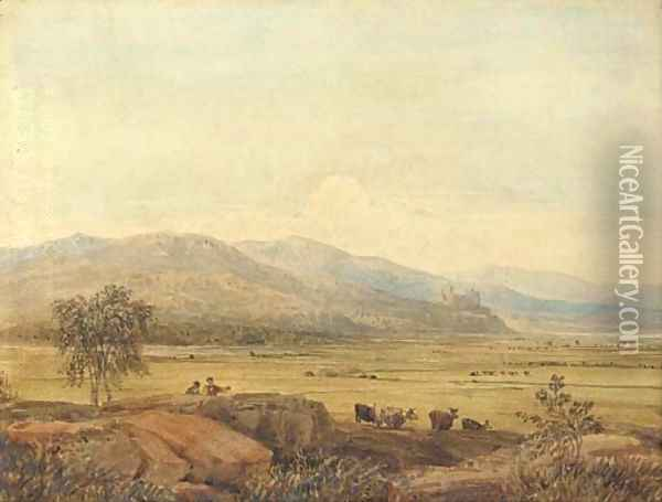 Harlech Castle, with Morfa Harlech in the foreground, North Wales Oil Painting - David Cox