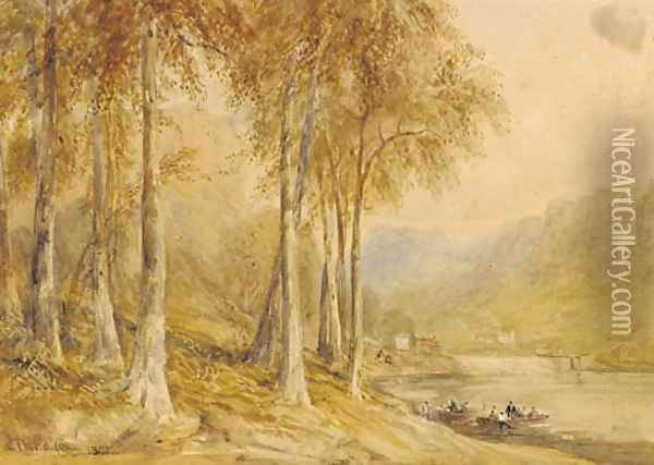New Weir on the River Wye Oil Painting - David Cox