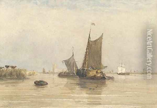On the Scheldt, Holland Oil Painting - David Cox