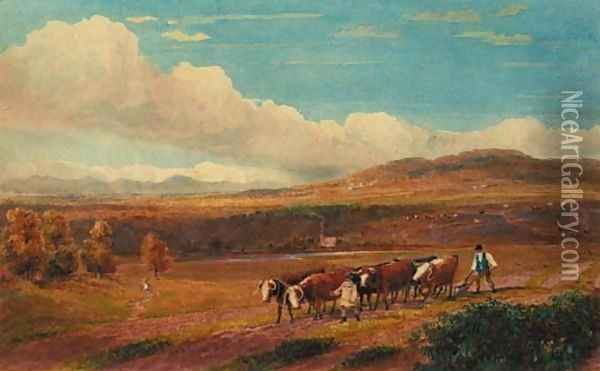 Ploughing with Oxen in Herefordshire with Stone Park and the Malvern Hills in the distance Oil Painting - David Cox