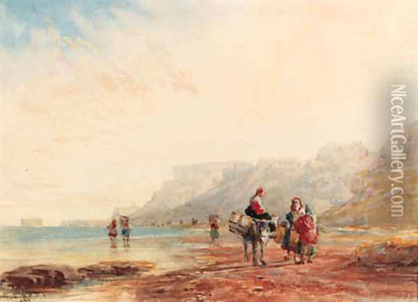 The beach near Calais, Fort Rouge in the distance, France Oil Painting - David Cox