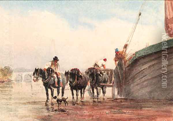 Unloading a boat on the Thames at low tide, London Oil Painting - David Cox