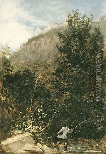 An angler on the river Llugwy, Bettws-y-Coed Oil Painting - David Cox