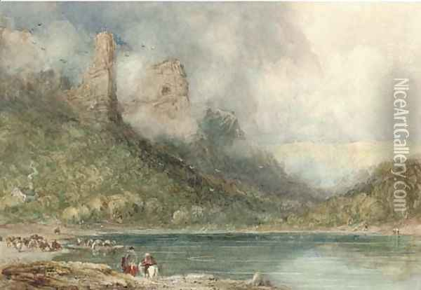 Ferry on the Wye at Longstone, Derbyshire Oil Painting - David Cox