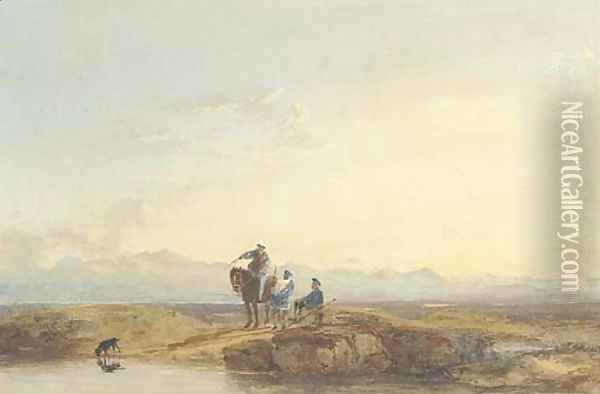 Figures in highland dress Oil Painting - David Cox