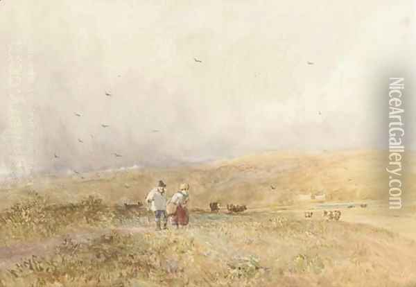 Passing shower, Yorkshire Oil Painting - David Cox