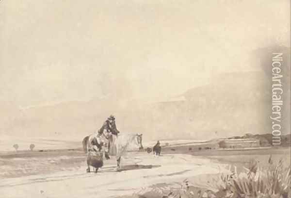 Travellers on a road Oil Painting - David Cox