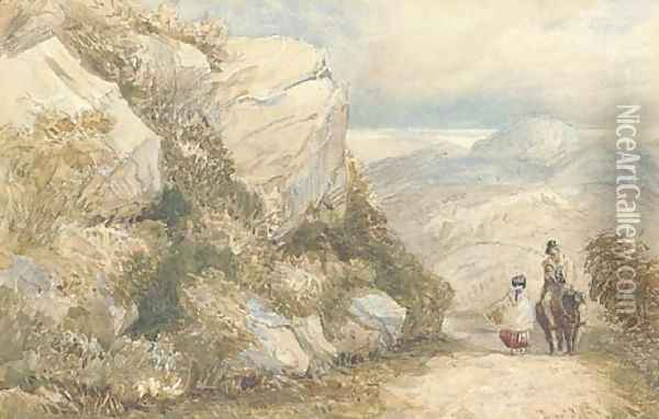 Travellers on a road, North Wales Oil Painting - David Cox