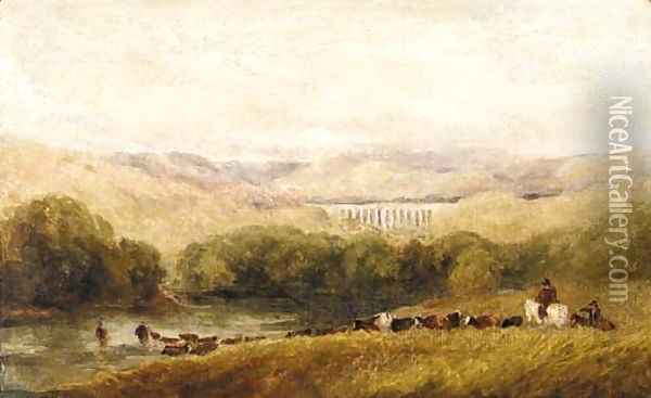 Watering the herd, North Wales Oil Painting - David Cox
