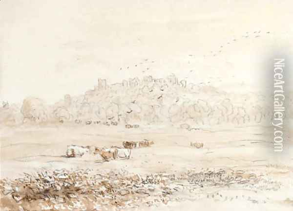 Richmond Castle, Yorkshire from the meadows Oil Painting - David Cox