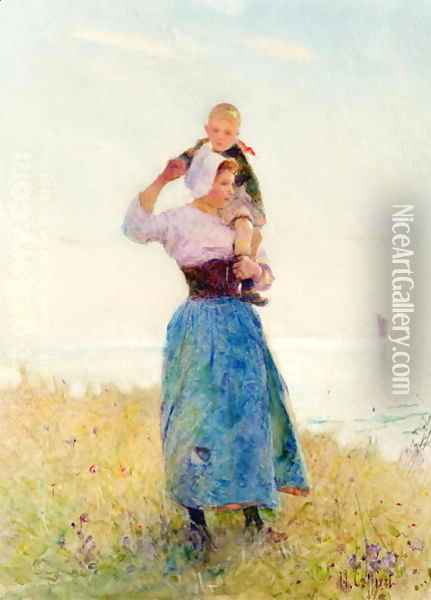 Woman and Child in a Meadow Oil Painting - Hector Caffieri