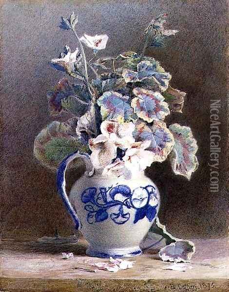 Geraniums in a China Jug, 1875 Oil Painting - Hector Caffieri