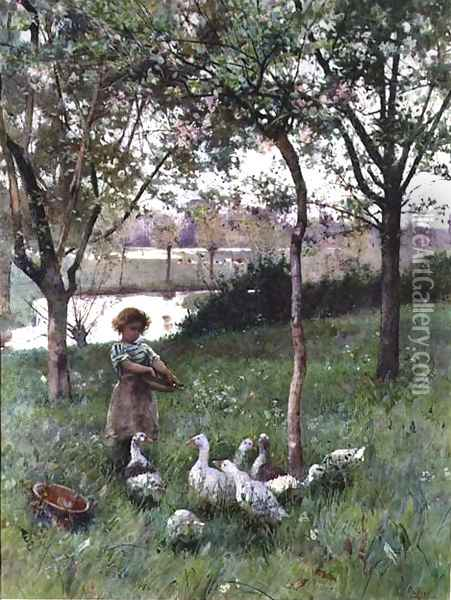 Feeding Time Oil Painting - Hector Caffieri