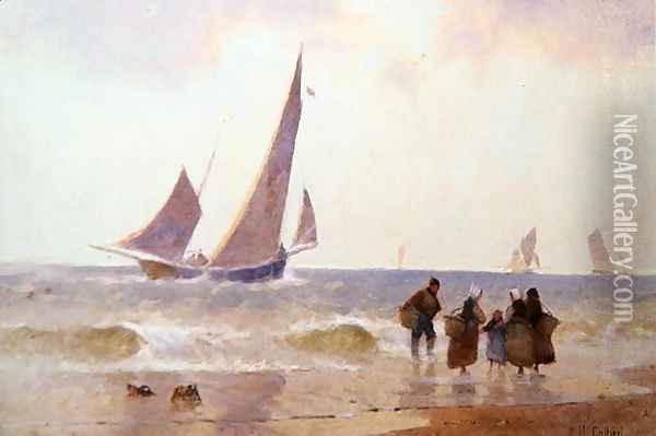 Off to the Fishing Grounds Oil Painting - Hector Caffieri