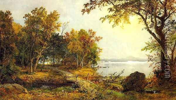 A Cabin on Greenwood Lake Oil Painting - Jasper Francis Cropsey