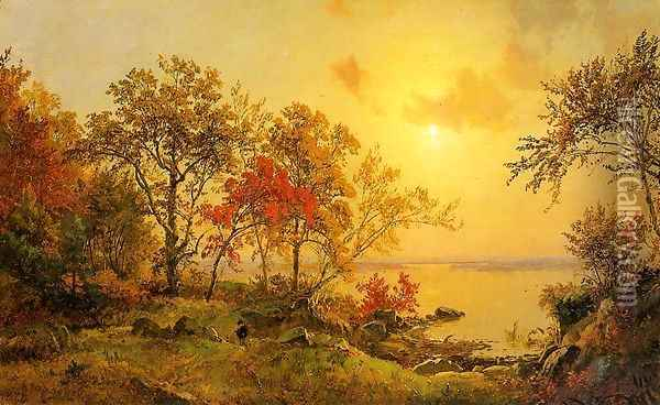 Autumn Landscape - View of Greenwood Lake Oil Painting - Jasper Francis Cropsey