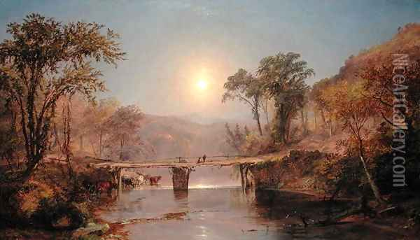 Indian Summer on the Delaware River, 1882 Oil Painting - Jasper Francis Cropsey