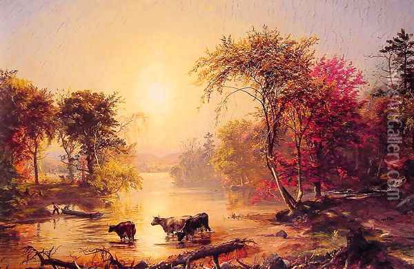 Autumn in America (or The Susquehanna River) Oil Painting - Jasper Francis Cropsey
