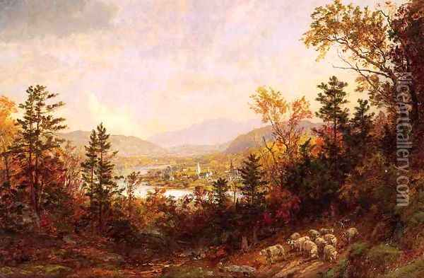 Autumn on the Hudson Oil Painting - Jasper Francis Cropsey
