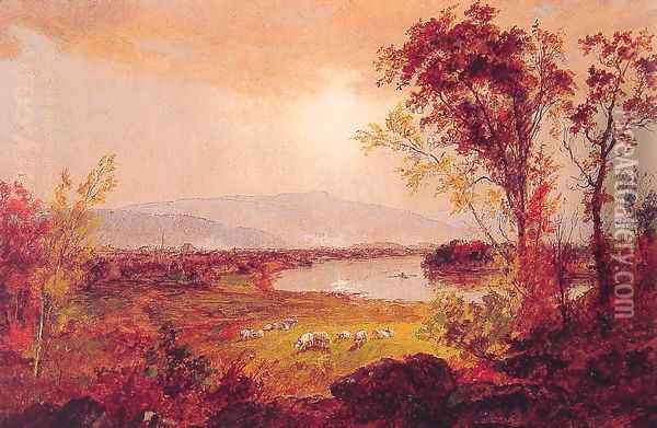 A Bend in the River Oil Painting - Jasper Francis Cropsey