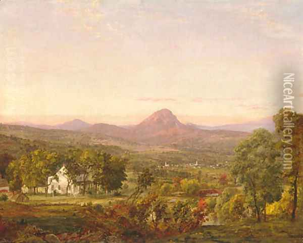 Autumn Landscape, Sugar Loaf Mountain, Orange County, New York Oil Painting - Jasper Francis Cropsey