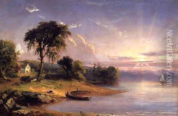 Boat Caulking on Greenwood Lake Oil Painting - Jasper Francis Cropsey