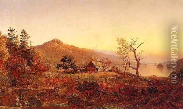 Fisherman's Hut, Greenwood Lake Oil Painting - Jasper Francis Cropsey