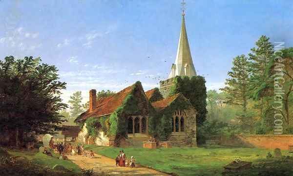 The Church at Stoke Poges Oil Painting - Jasper Francis Cropsey