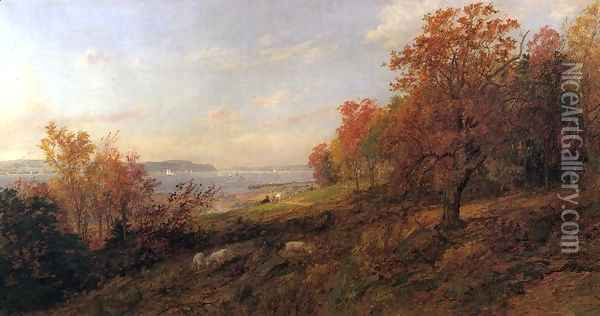 View from Hastings toward the Tappan Zee Oil Painting - Jasper Francis Cropsey