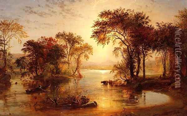 Autumn on thw Susquehanna Oil Painting - Jasper Francis Cropsey