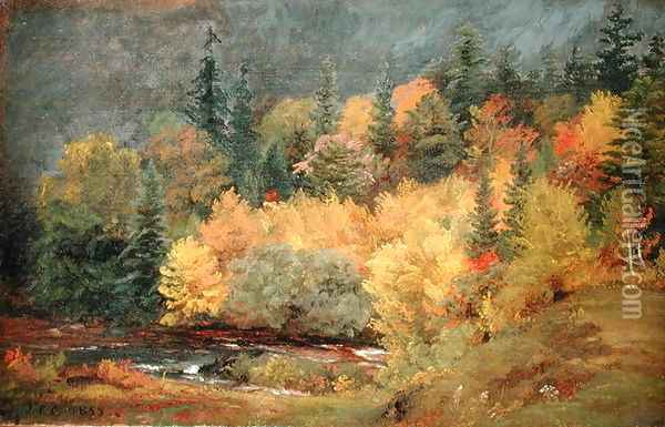 Autumn by the Brook, 1855 Oil Painting - Jasper Francis Cropsey