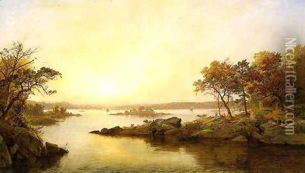 Afternoon at Greenwood Lake Oil Painting - Jasper Francis Cropsey