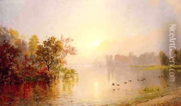 Hazy Afternoon, Autumn, 1873 Oil Painting - Jasper Francis Cropsey