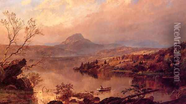 Wickham Pond and Sugar Loaf Mountain, Orange County Oil Painting - Jasper Francis Cropsey
