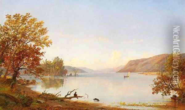 Artist Sketching on Greenwood Lake Oil Painting - Jasper Francis Cropsey
