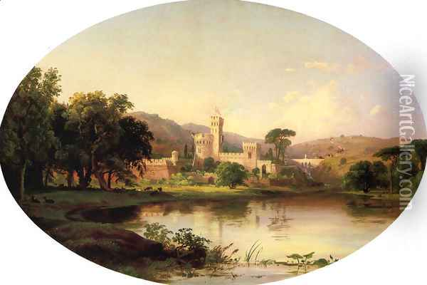 Castle by a Lake Oil Painting - Jasper Francis Cropsey