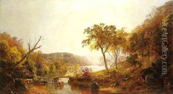 Autumn on Ramapo River, New Jersey Oil Painting - Jasper Francis Cropsey