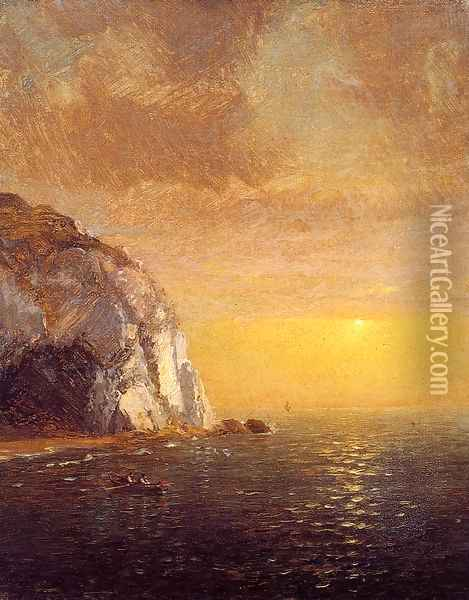 Rowing at Sunset Oil Painting - Jasper Francis Cropsey