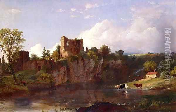 Chepstow Castle on the Wye Oil Painting - Jasper Francis Cropsey