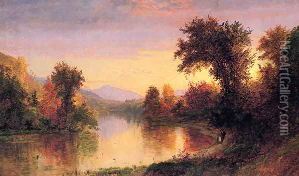 Autumn by the River Oil Painting - Jasper Francis Cropsey