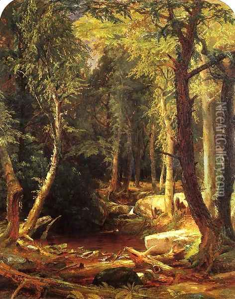Pool in the Woods Oil Painting - Jasper Francis Cropsey