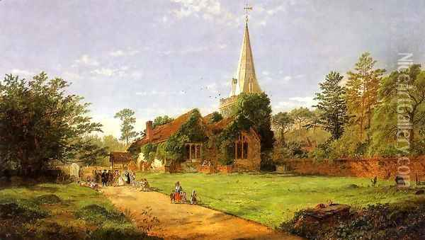 William Penn's Wedding Oil Painting - Jasper Francis Cropsey