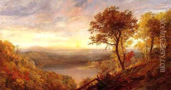 Greenwood Lake Oil Painting - Jasper Francis Cropsey