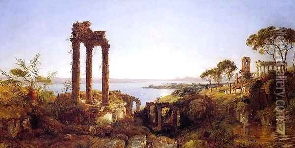 Overlookig the Bay of Naples Oil Painting - Jasper Francis Cropsey