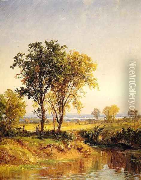 The Pond in Springtime Oil Painting - Jasper Francis Cropsey
