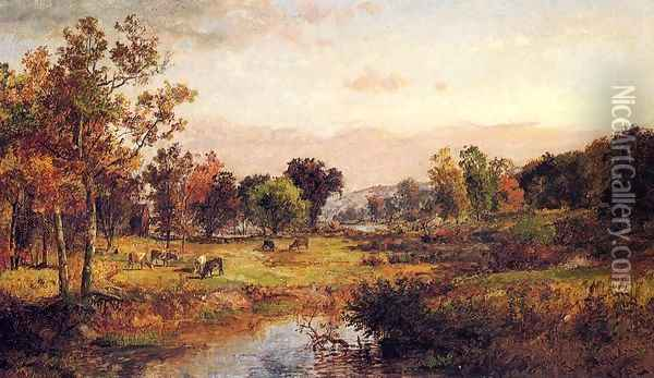 Farm Along the River Oil Painting - Jasper Francis Cropsey